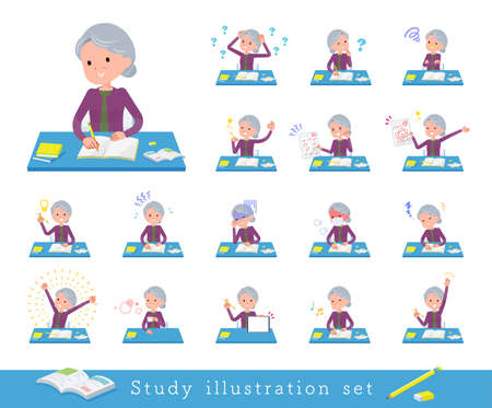 A set of senior women on study.It's vector art so easy to edit.