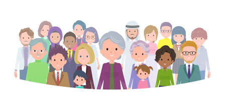 A set of senior women standing in front of a large number of people.It's vector art so easy to edit.