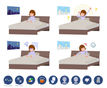 A set of women and causes of sleeplessness.It's vector art so easy to edit.