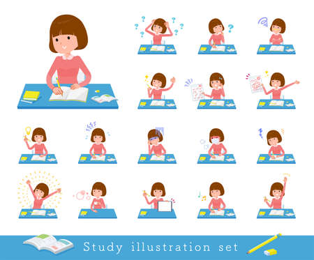 A set of women on study.It's vector art so easy to edit.