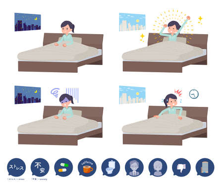 A set of Medical staff women and causes of sleeplessness.It's vector art so easy to edit.