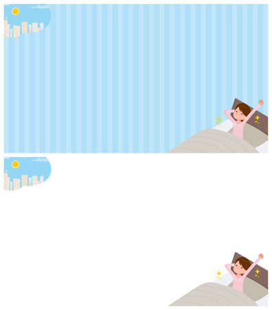 A set of schoolgirl about getting up.It's vector art so easy to edit. Vektoros illusztráció