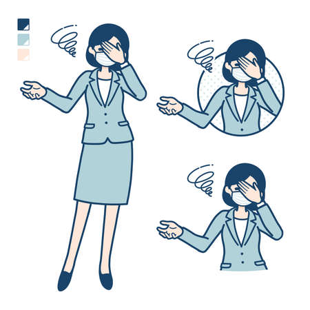 Business woman Wearing a mask with Discouraged head images.It's vector art so it's easy to edit.