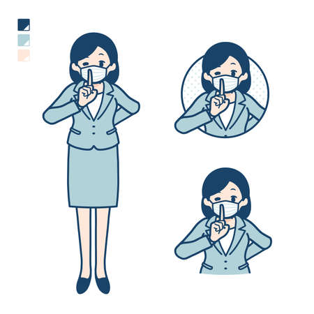 Business woman Wearing a mask with be quiet hand sign images.It's vector art so it's easy to edit.