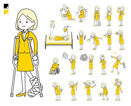 A set of women with injury and illness.It's vector art so easy to edit. Vector Illustratie