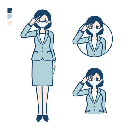 Business woman Wearing a mask with salute images.It's vector art so it's easy to edit.