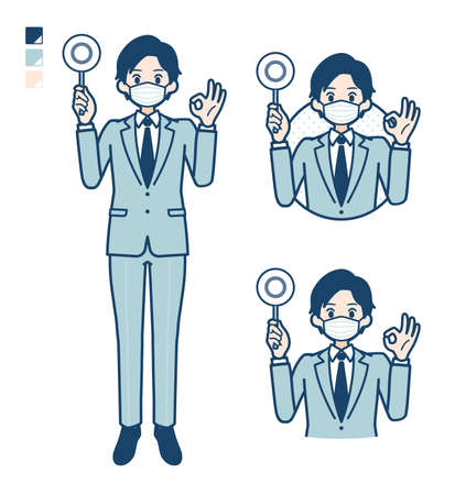 A young Businessman Wearing mask with Put out a circle panel image.It's vector art so it's easy to edit.