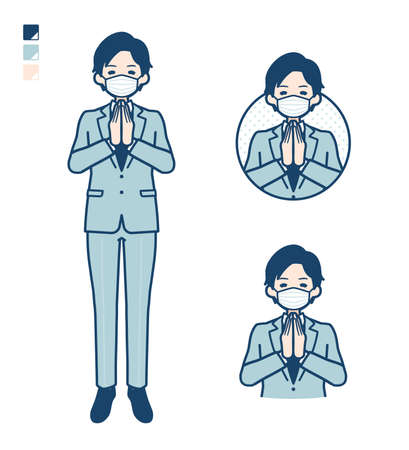 A young Businessman Wearing mask with press hands in prayer images.It's vector art so it's easy to edit.