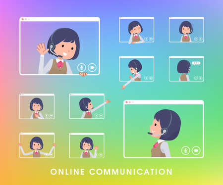 A set of business women with income communicating online.It's vector art so easy to edit. Vecteurs