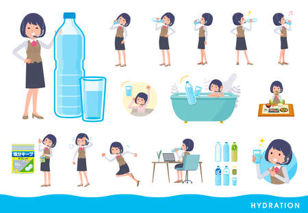 A set of business women with income drinking water.It's vector art so easy to edit.