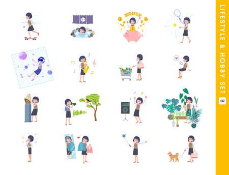 A set of business women with income about hobbies and lifestyle.type B.It's vector art so easy to edit.