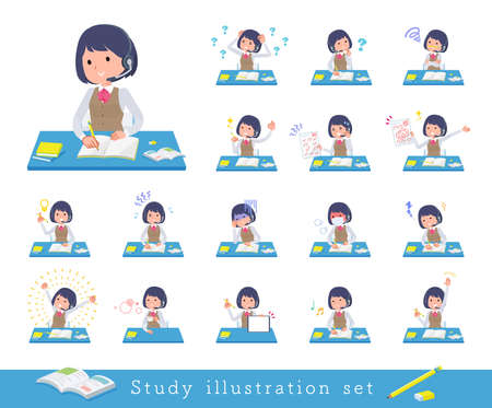 A set of business women with income on study.It's vector art so easy to edit.