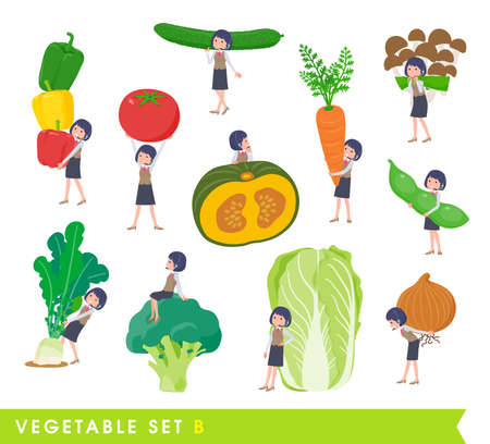 A set of business women with income and vegetables.type B.It's vector art so easy to edit.