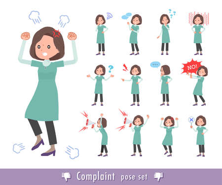 A set of middle-aged women in tunic expressing their discontent.It's vector art so easy to edit.