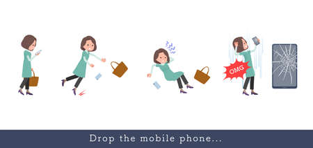 A set of middle-aged women in tunic who drops her smartphone.It's vector art so easy to edit.