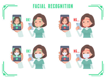 A set of middle-aged women in tunic doing facial recognition on their phones.It's vector art so easy to edit.