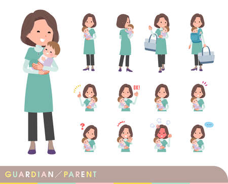 A set of middle-aged women in tunic who are guardian of baby.It's vector art so easy to edit.