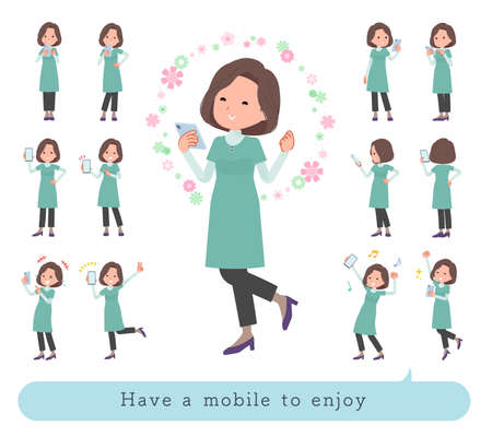 A set of middle-aged women in tunic to enjoy using a smartphone.It's vector art so easy to edit. Ilustracje wektorowe