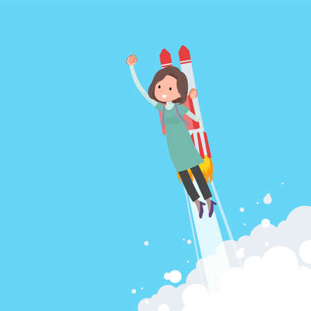 A set of middle-aged women in tunic taking off with a rocket jet.It's vector art so easy to edit.