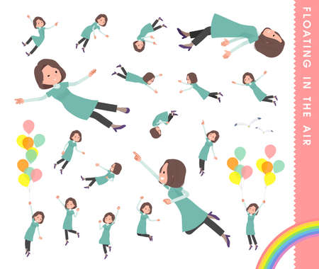 A set of middle-aged women in tunic floating in the air.It's vector art so easy to edit.