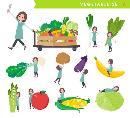A set of middle-aged women in tunic and vegetables.type A.It's vector art so easy to edit.
