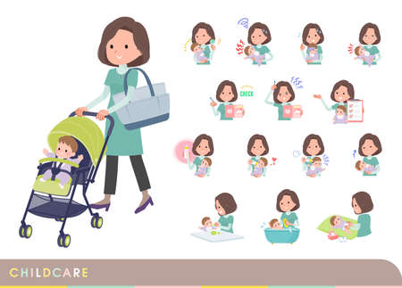 A set of middle-aged women in tunic who take care of their baby.It's vector art so easy to edit.