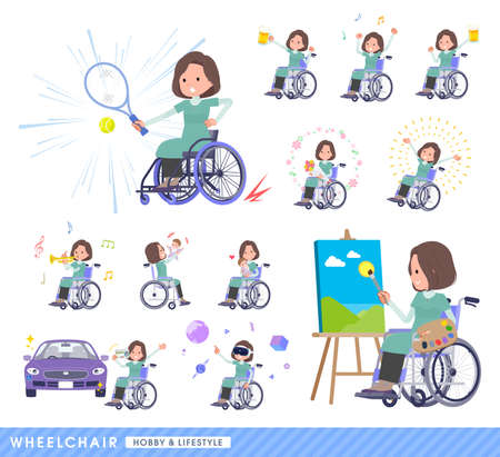 A set of middle-aged women in tunic in a wheelchair.About hobbies and lifestyle.It's vector art so easy to edit. Vektoros illusztráció