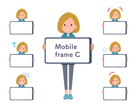 A set of women in a hoodie and smartphone screen.type-C.It's vector art so easy to edit.The inside of the screen is transparent, so it is easy to fit.