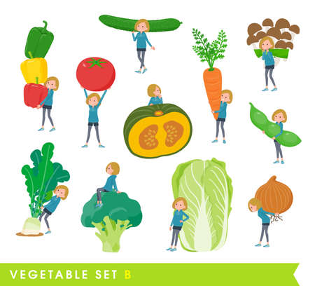 A set of women in a hoodie and vegetables.type B.It's vector art so easy to edit.