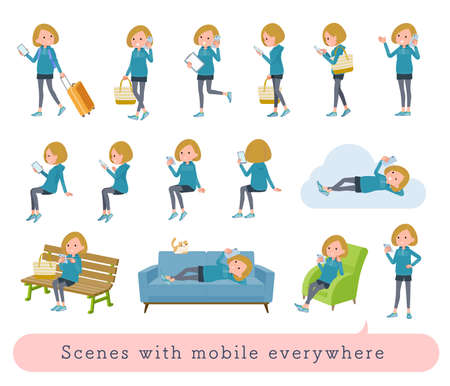 A set of women in a hoodie who uses a smartphone in various scenes.It's vector art so easy to edit.