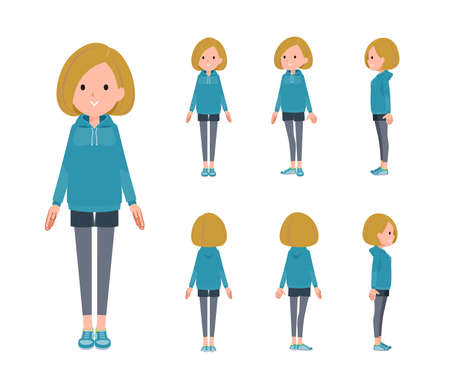 A set of women in a hoodie standing.Front, side and back angles.It's vector art so easy to edit.