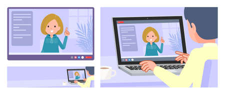 A set of women in a hoodie having a video chat. It's vector art so easy to edit.