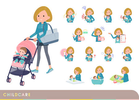 A set of women in a hoodie who take care of their baby.It's vector art so easy to edit.