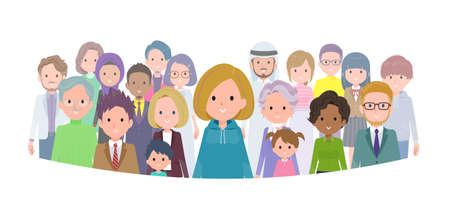 A set of women in a hoodie standing in front of a large number of people.It's vector art so easy to edit.