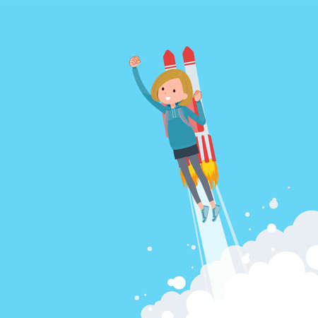 A set of women in a hoodie taking off with a rocket jet.It's vector art so easy to edit.