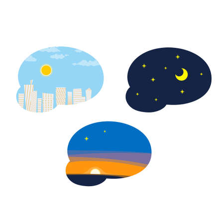 Day, night, evening, sky.Vector illustration that is easy to edit. Vetores