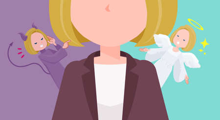 A set of blond hair business women struggling between an angel and a devil.It's vector art so easy to edit.