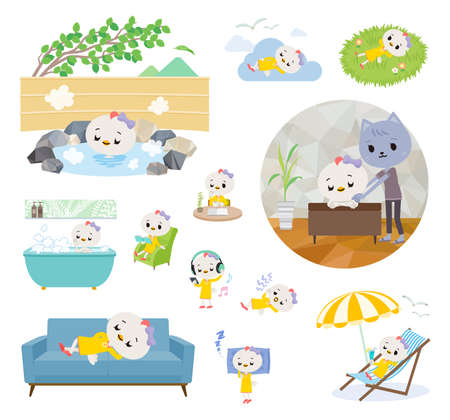 A set of Bird girl about relaxing.It's vector art so it's easy to edit.