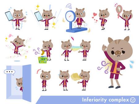 A set of Boar boy on inferiority complex.It's vector art so it's easy to edit.