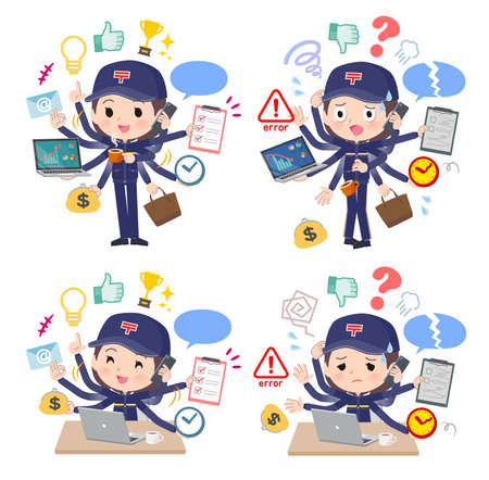 A set of postwomen who perform multitasking in the office.It's vector art so easy to edit.