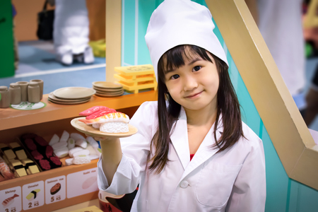 Asian Girl Role Play as a Sushi Chef