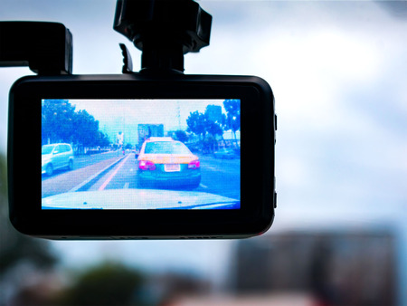 A View through a Dashcam in Traffic Banco de Imagens - 81639219