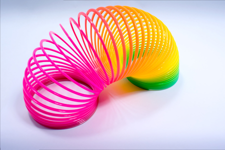 Isolated Colorful and Flexible Bouncy Plastic Spring Stock Photo