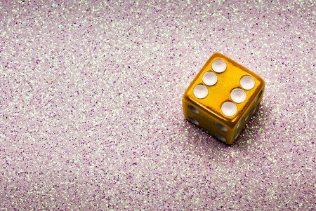 A Golden Lucky Role of Six on a Christmas Themed Dice