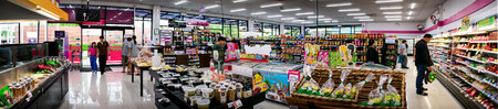 BANGKOK, THAILAND - AUGUST 01: MaxValu supermarket serves multiple unidentified customers on a weekday on August 01, 2017 in Bangkok.