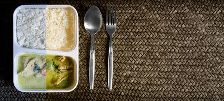 Half Frozen, Half Cooked, Thai Green Curry with Rice Microwave Dinner Served with a Metal Spoon and a Fork.