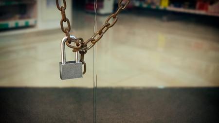 thru: Single Padlock around a Chain on a Glass Door