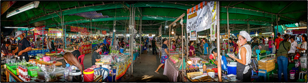 BANGKOK, THAILAND - JULY 31: Local vendors do business in a local traditional outdoor market in the afternoon on July 31, 2017 in Bangkok.