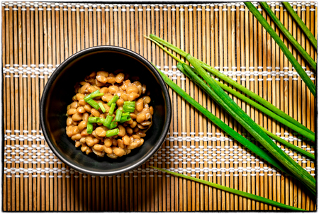Traditional Japanese Fermented Beans Seasoned with Raw Green Onions for Breakfast