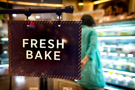 Sign with Fresh Bake Printed inside a local Bakery